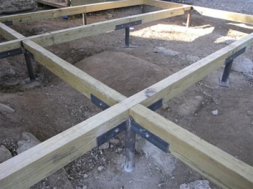 Нижняя обвязка каркасного дома на столбчатом фундаменте. Общая информация