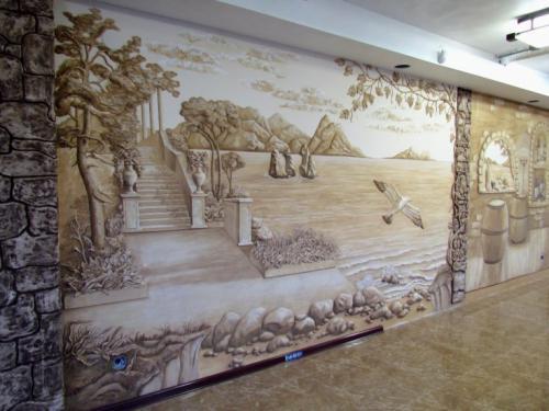 Что нарисовать на стене в гостиной. Роспись стен в интерьере — варианты красивого оформления на 70 фото
